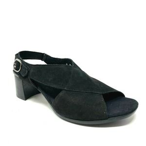 Munro black strappy sandal laine block heel nubuck